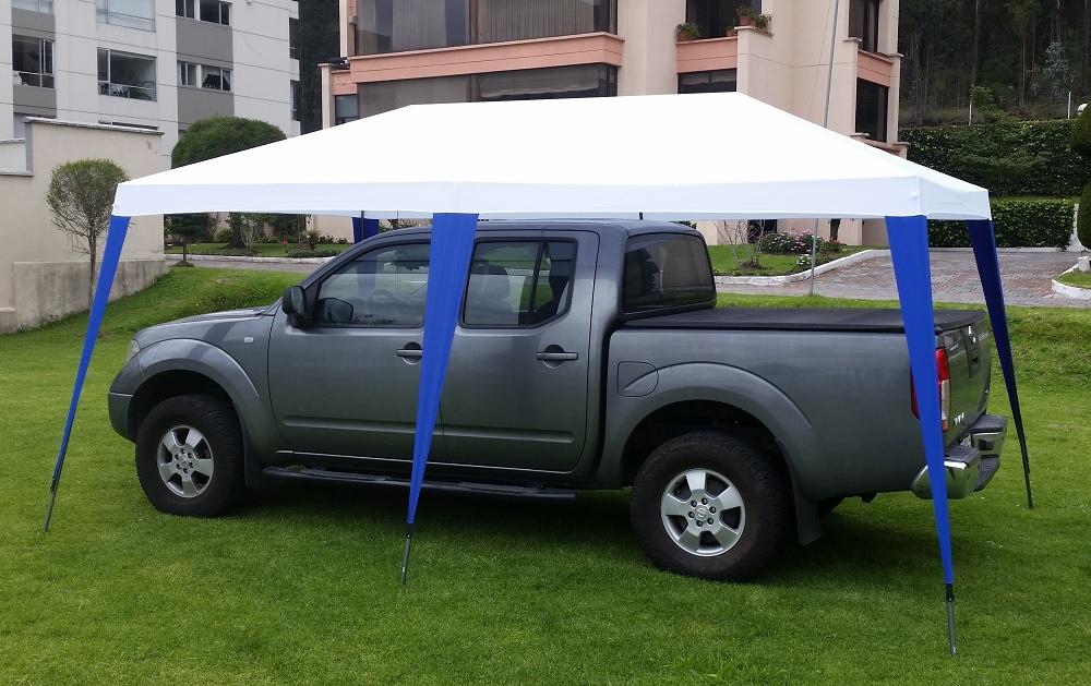 Carpa para carros 3x5m Blanco Azul